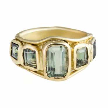 Millie Savage, Gold Five Stone Green Tourmaline & Sapphire Ring, tomfoolery