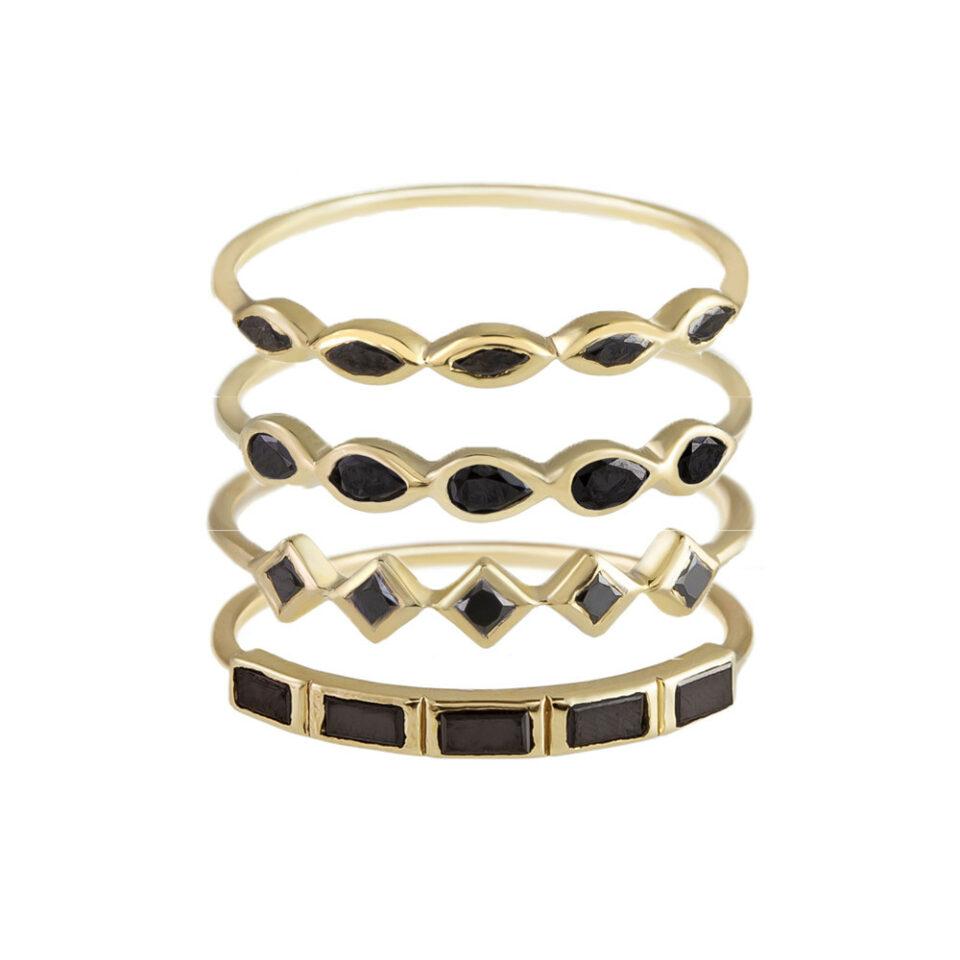 metier by tomfoolery: 5 stone black diamond ring