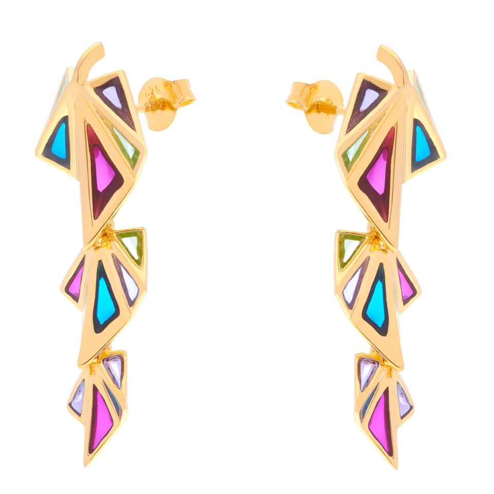 Tomfoolery; Crystal Gold Rainbow Clara Triple Drop Earrings, Simon Harrison