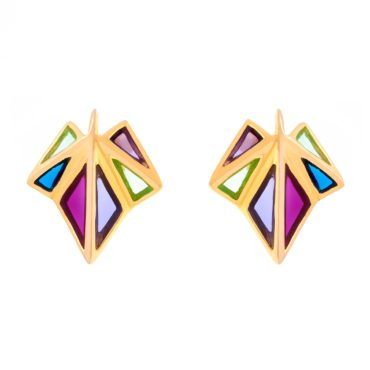 Tomfoolery; Crystal Gold Rainbow Clara Triple Stud Earrings, Simon Harrison