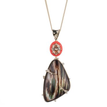 tomfoolery, Alexis bittar,Iridescent Wood Grain Pendant Necklace