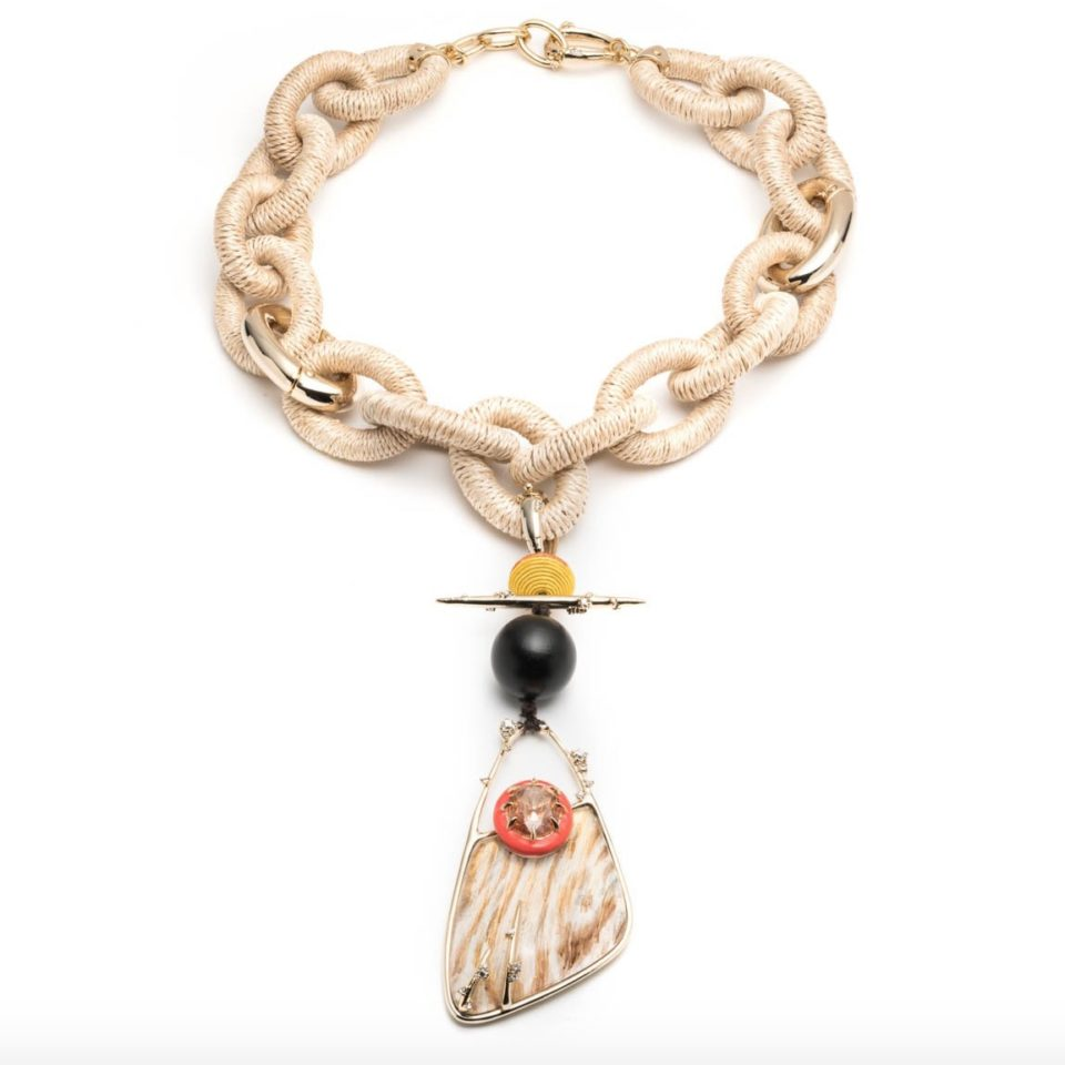 tomfoolery, Alexis bittar, Raffia Link Necklace with Wood Grain Pendant