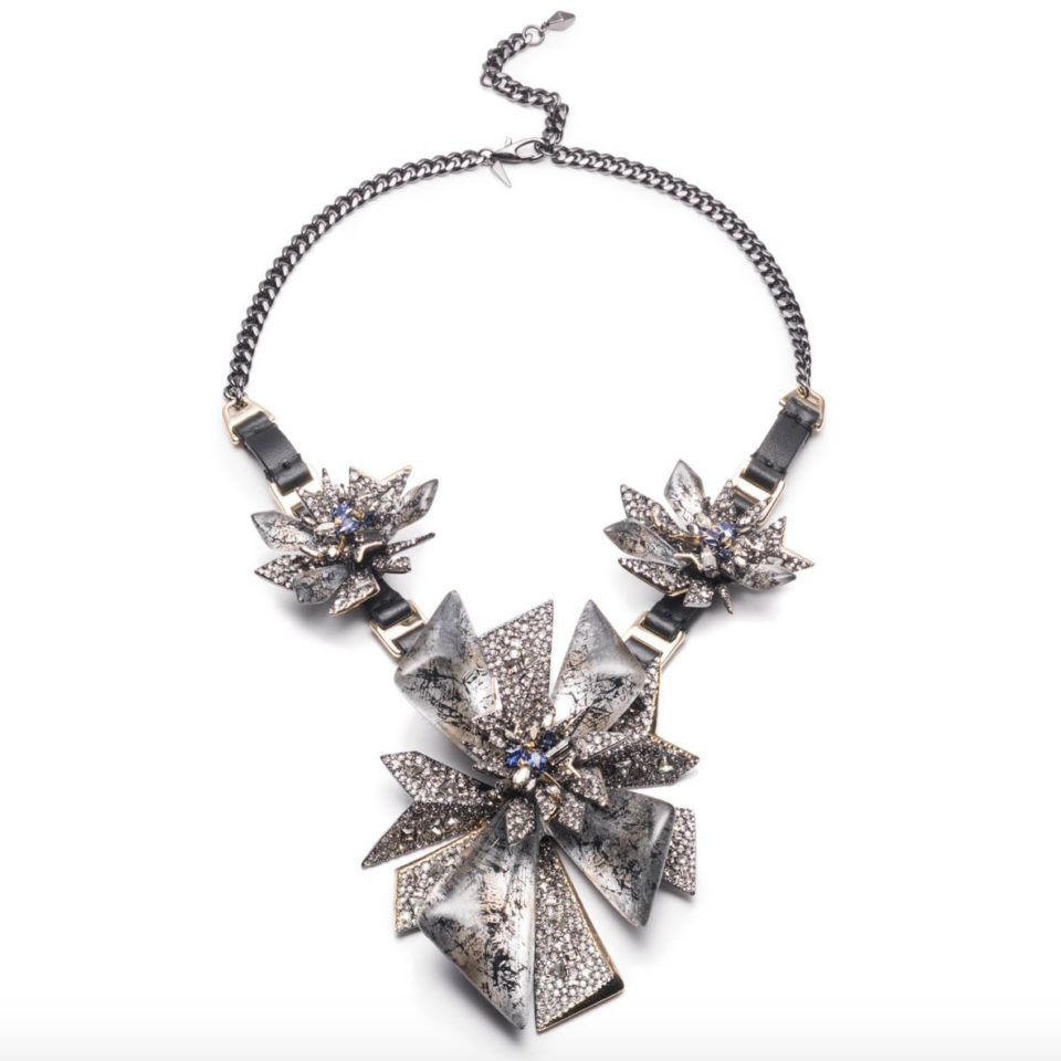 tomfoolery, Alexis bittar, Two-Tone Crystal Studded Perennial Punk Bib Necklace