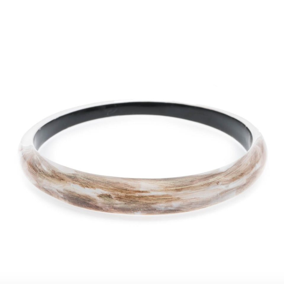 Tomfoolery, Alexis Bittar,Skinny Tapered Transparent, Brown & Gold Fleck Bangle