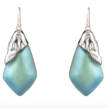 Alexis bittar, Tomfoolery London,Blue Crumpled Silver Tone Earrings