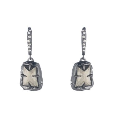 Alexis Bittar, Tomfoolery London,Pyrite & Crystal Drop Earrings