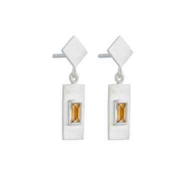 Tomfoolery; Silver and Baguette Cut Citrine Drop Earrings, Everyday by tomfoolery