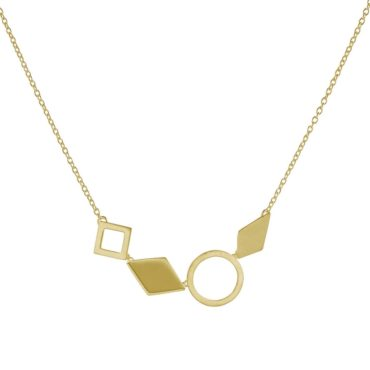 Tomfoolery, Gold Plated Silver Geometric Multi Shape Necklace, Everyday by tomfoolery