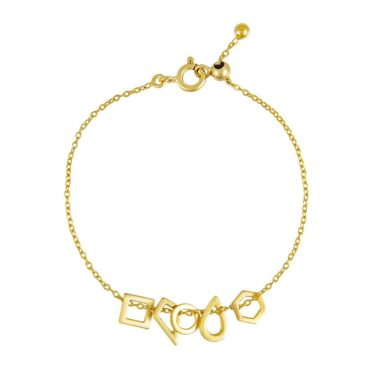 Tomfoolery: Gold Round Wire Multi Shape Link Chain Bracelet, Everyday by tomfoolery