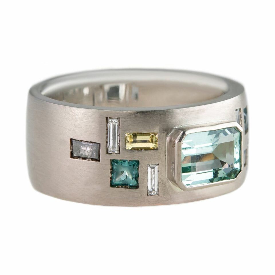 Muse by tomfoolery, 18ct White Gold Mint Modern Deco Ring, Tomfoolery