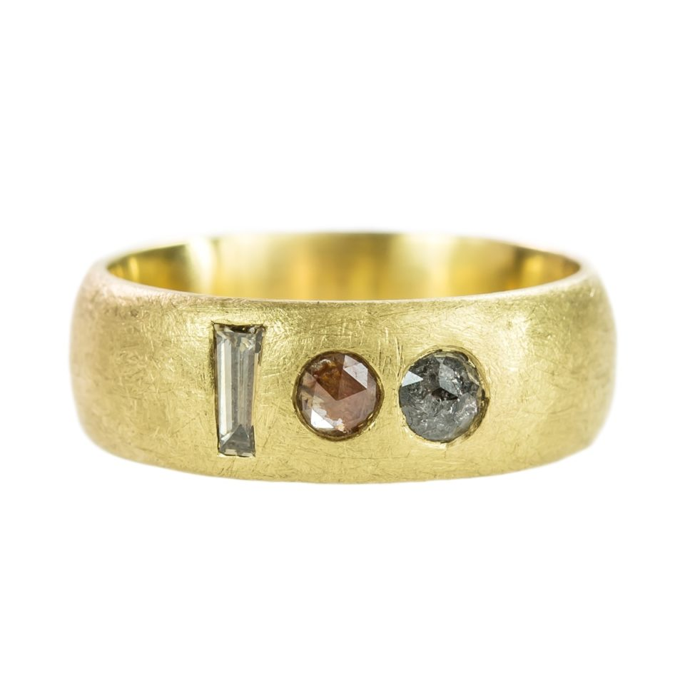 Muse by tomfoolery, 18ct Yellow Gold Muse Multi Diamond Court Wide Ring, Tomfoolery