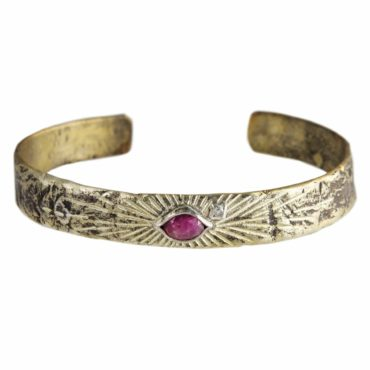 Bronze & Silver Pink Tourmaline & Diamond Cuff Bangle, Franny e, tomfoolery