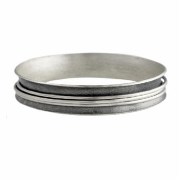 Silver and Oxidised Silver Spinning Bangle,  katerina andriagiannaki , TOMFOOLERY