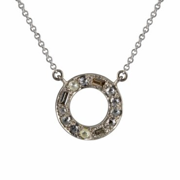 Muse by tomfoolery,18ct White Gold Puzzle Halo Diamond Pendant, Tomfoolery