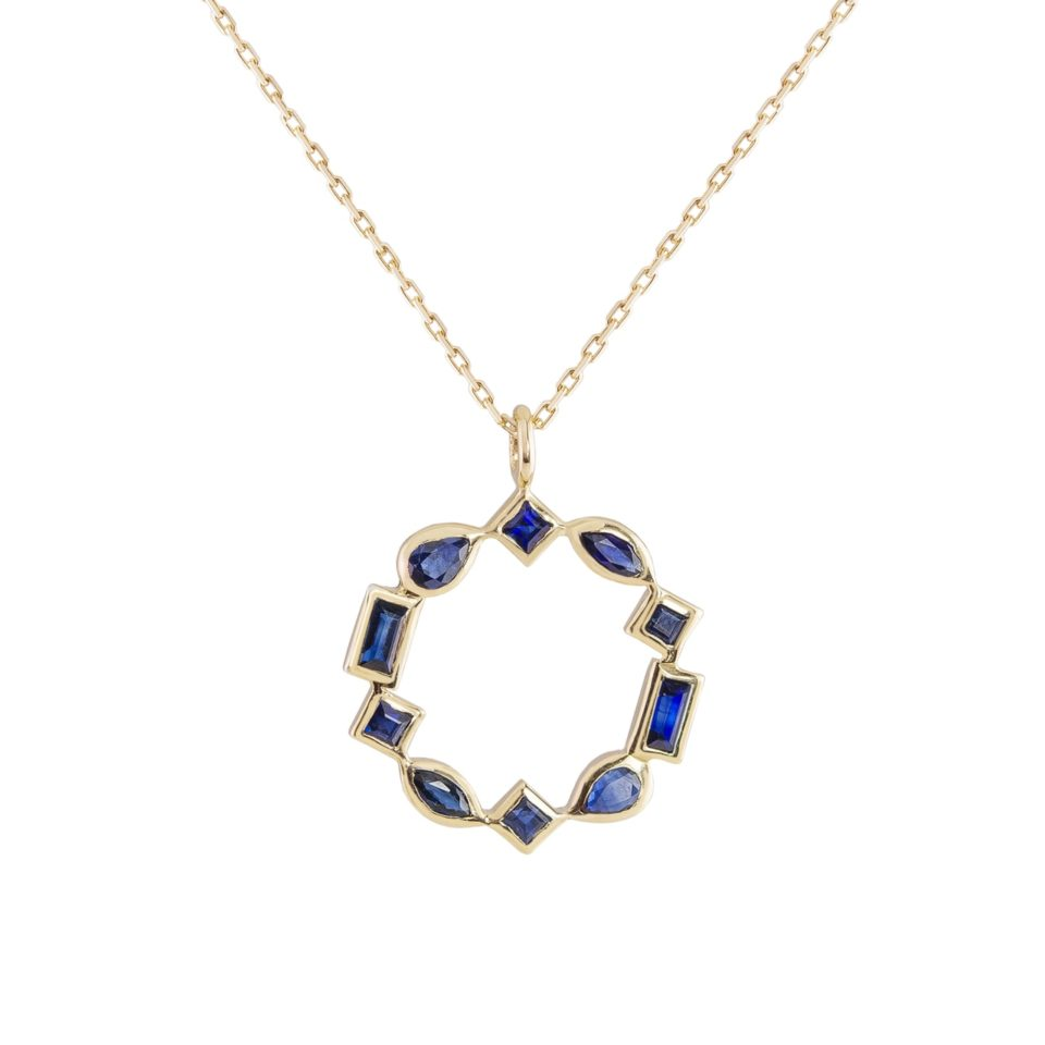metier by tomfoolery: Sapphire, mixed cut pendant