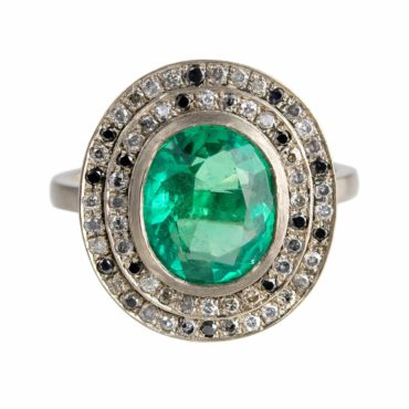 Muse by tomfoolery, 18ct White Gold Emerald Double Mottled Halo Diamond Ring, Tomfoolery