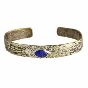 Bronze & Silver Lapis & Diamond Cuff Bangle,  Franny e, tomfoolery