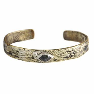 Bronze & Silver grey tourmaline  & Diamond Cuff Bangle,  Franny e, tomfoolery
