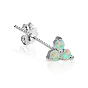 Single 14ct & 18ct Gold Large Opal Trinity Stud, Maria Tash, Tomfoolery