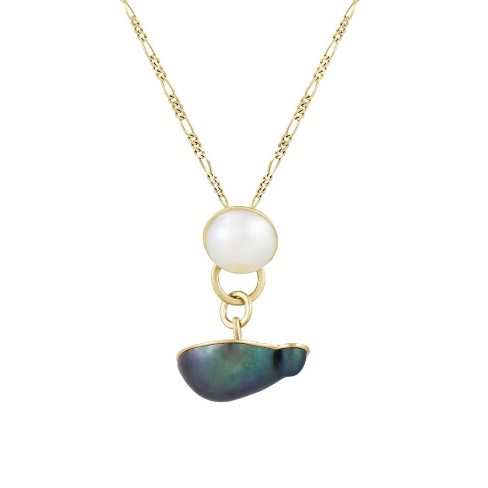 9ct Yellow Gold Split Mixed Pearl Cufflink Necklace, holly o'hanlon, tomfoolery