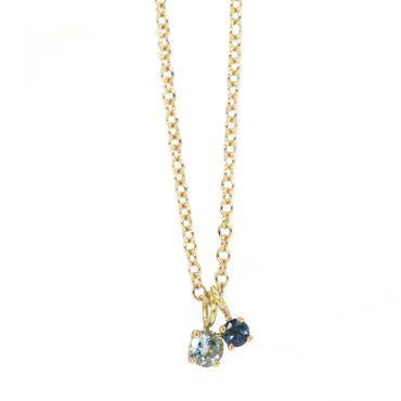 'Worn' Two Stone Aquamarine & Sapphire Pendant Necklace, Maya Selway,   Tomfoolery