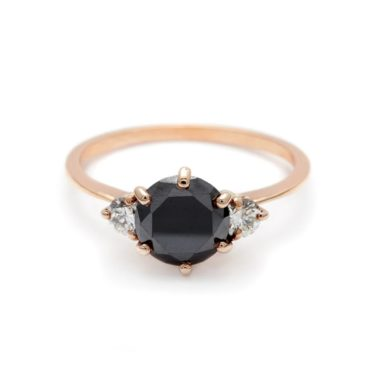 Anna Sheffield, 1ct Hazeline Black Diamond Three Stone Ring, tomfoolery