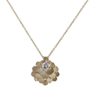 White Gold Chaos Hex Berry Pendant Necklace, Tomfoolery, jo hayes ward