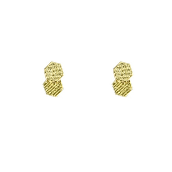 18ct Yellow Gold Chaos Two Hex Studs,  tomfoolery, jo hayes ward