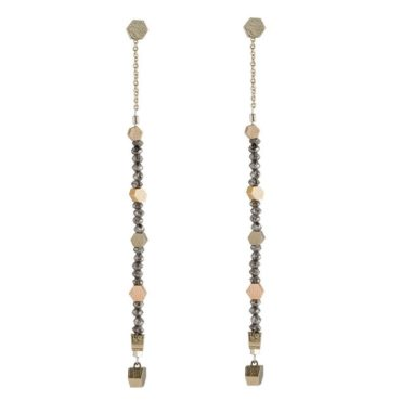 White and Rose Gold Chain Hex Diamond Drop Earrings,  tomfoolery, jo hayes ward