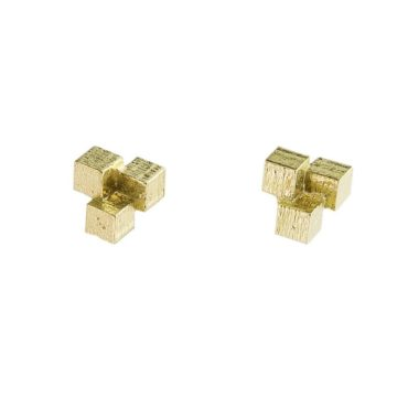 18ct Yellow Gold Cube Grid Stud Earrings,  tomfoolery, jo hayes ward