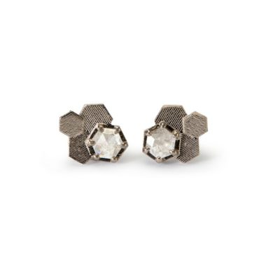 White Gold Diamond chaos hex stud Earrings, Tomfoolery, jo hayes ward