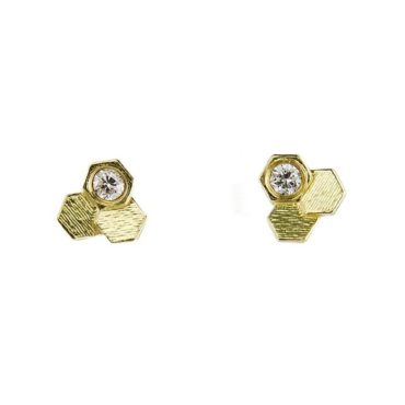 Three Chaos Hex Gold & Diamond Earrings, Tomfoolery, jo hayes ward