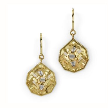 Chaos Parquet Gold & Diamond Drop Earrings, Tomfoolery, jo hayes ward