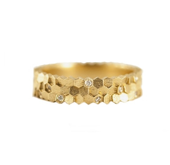 Gold & Diamond Triple Hex Ring,  jo hayes ward,  tomfoolery