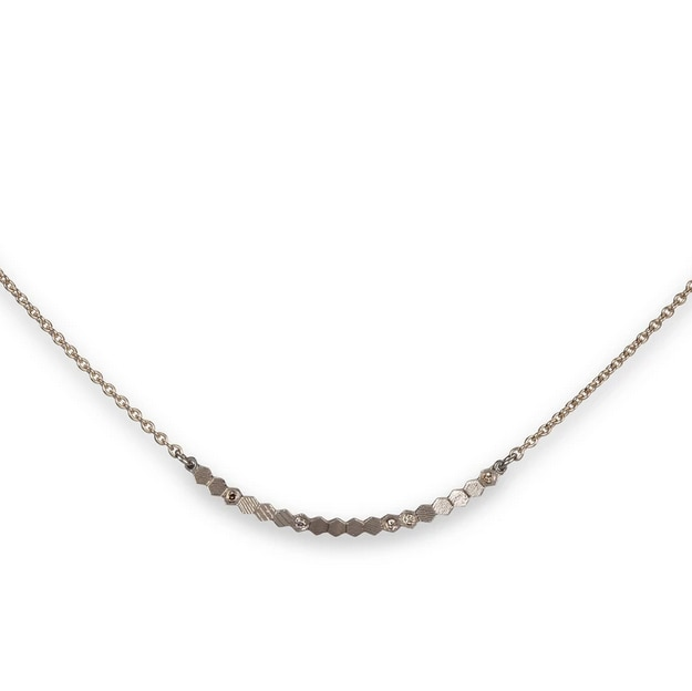 White Gold Hex Bar Pendant Necklace, Tomfoolery, jo hayes ward