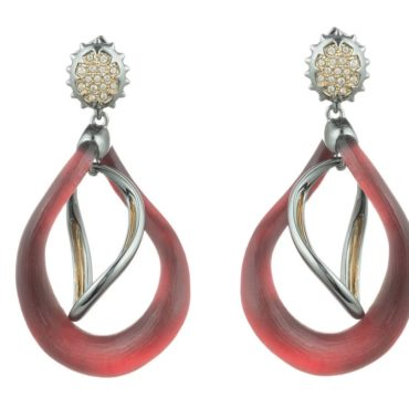 Red Two Tone Wavy Post Earrings, Alexis Bittar, Tomfoolery