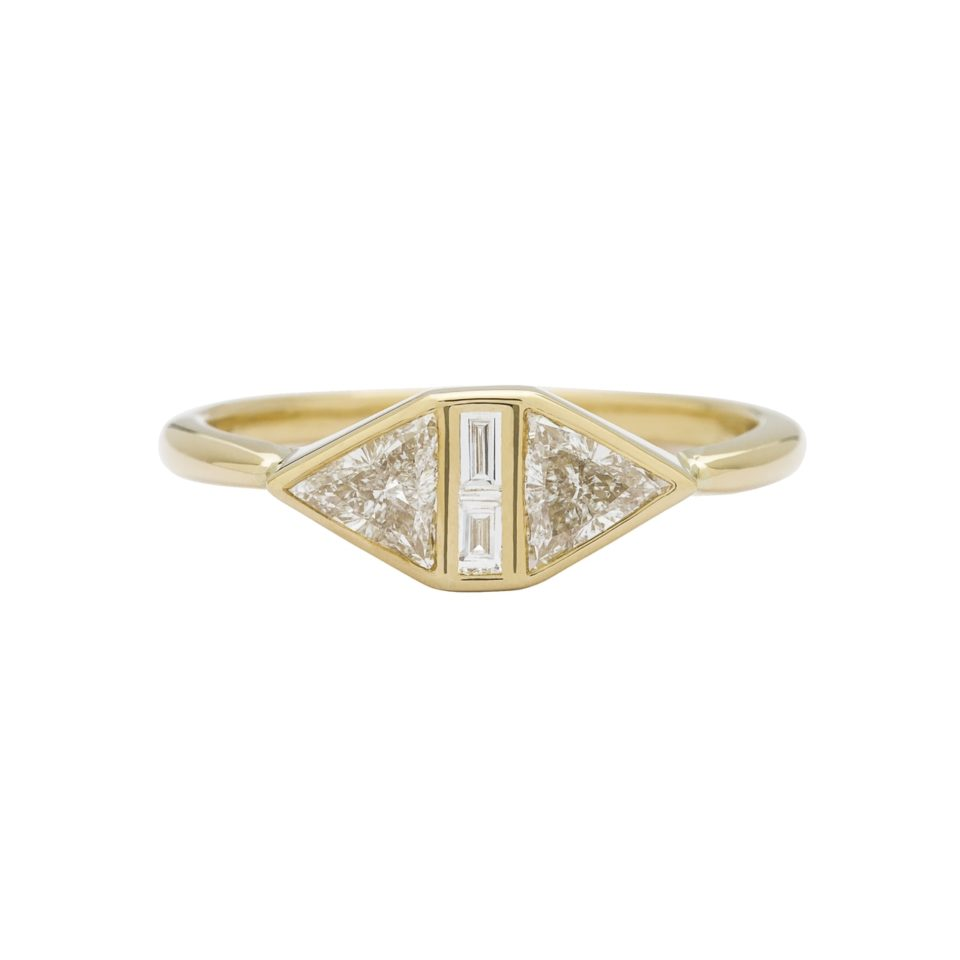 Muse by tomfoolery, 18ct Yellow Gold Diamond Trillion Maze Ring, tomfoolery