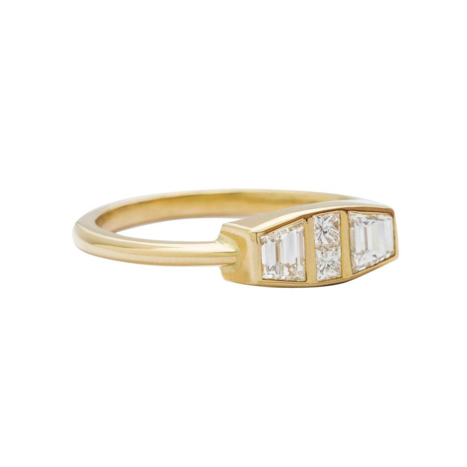 Muse by tomfoolery,18ct Yellow Gold Diamond Trapezoid Maze Ring, tomfoolery