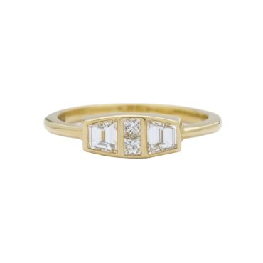 Muse by tomfoolery, 18ct Yellow Gold Diamond Trapezoid Maze Ring, tomfoolery