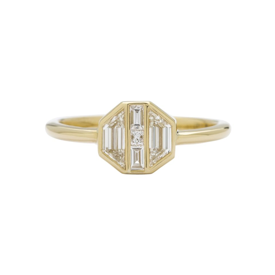 Muse by tomfoolery, 18ct Yellow Gold Diamond Hexagon Maze Ring, tomfoolery