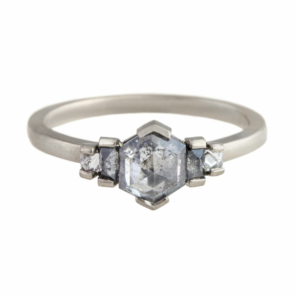 Muse by tomfoolery, 118ct Raw White Gold Hexagon Five Diamond Ring, tomfoolery