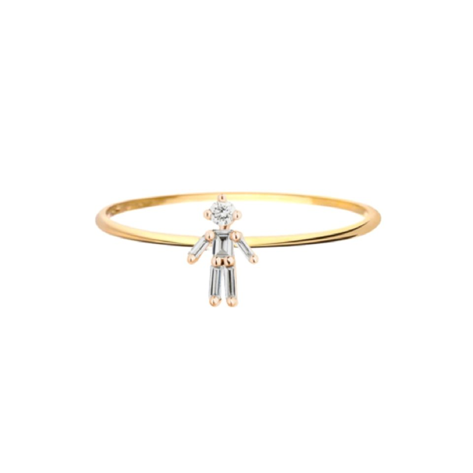 Little Ones, 18ct Yellow Gold Diamond Ring, Tomfoolery London