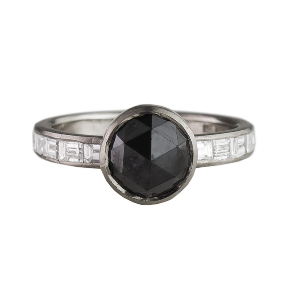 Muse by tomfoolery, 18ct White Gold Black Rose Cut And Baguette Diamond Ring, tomfoolery