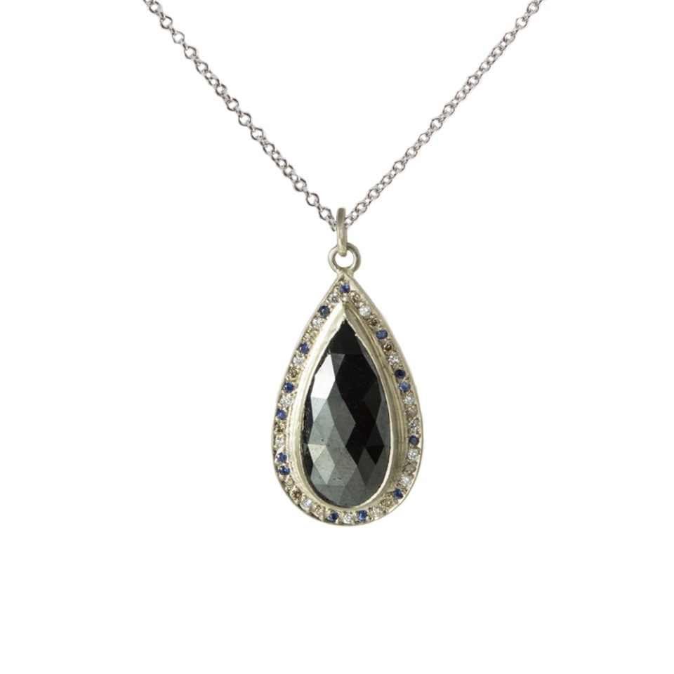 Muse by tomfoolery, 18ct White Gold Black Diamond Mottled Sapphire Pendant , Tomfoolery