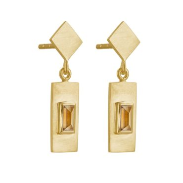 Tomfoolery; Gold Plated Baguette Cut Gemstone Drop Earrings, Everyday by tomfoolery