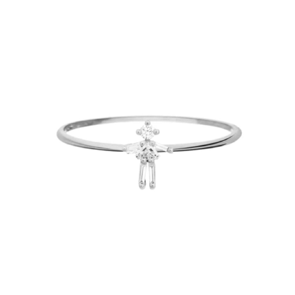 Little Ones, 18ct White Gold Diamond Ring, Tomfoolery London