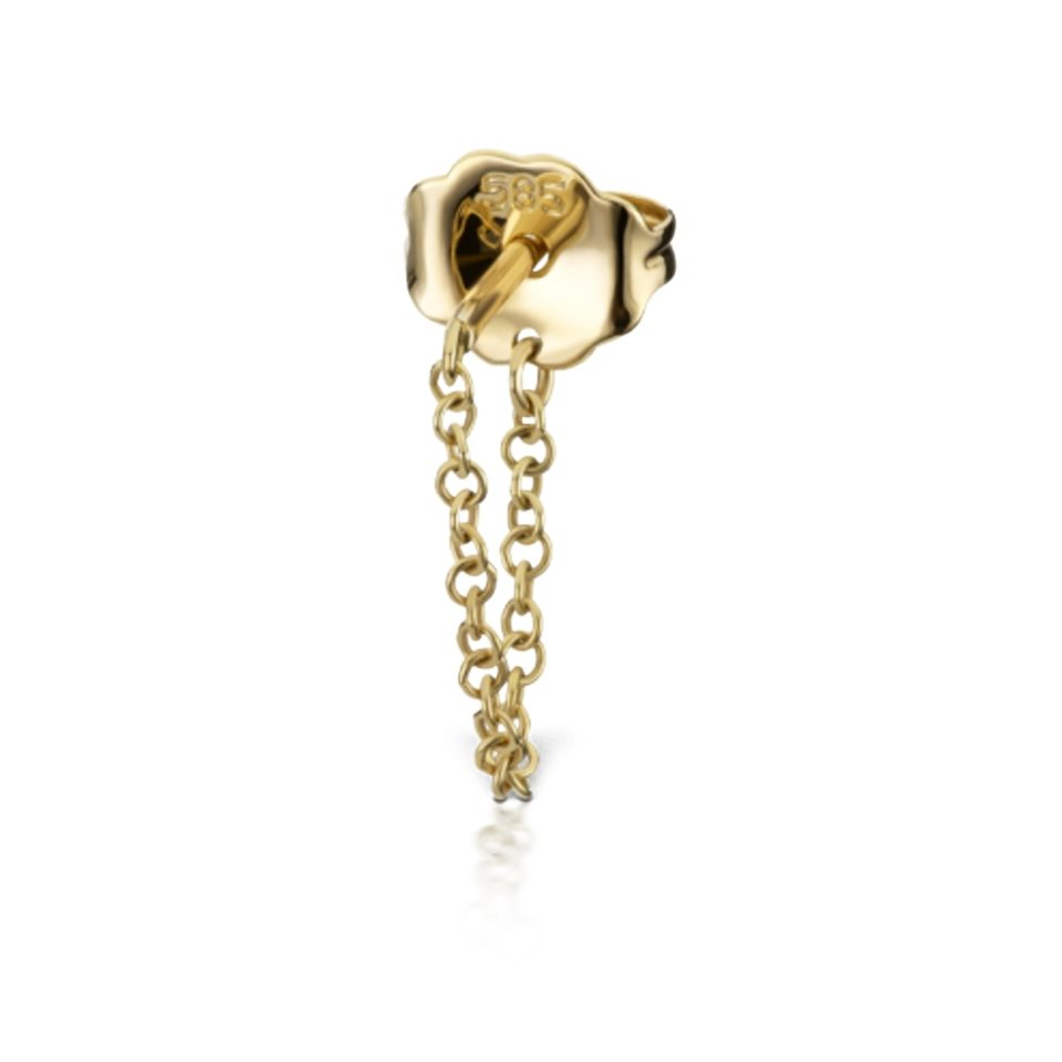 Maria Tash, Single 18ct Yellow Gold Medium Chain Wrap Stud, Tomfoolery