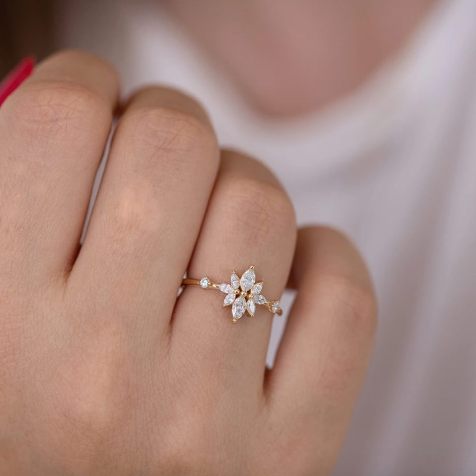 Artemer, Diamond Flower Cluster Ring, tomfoolery