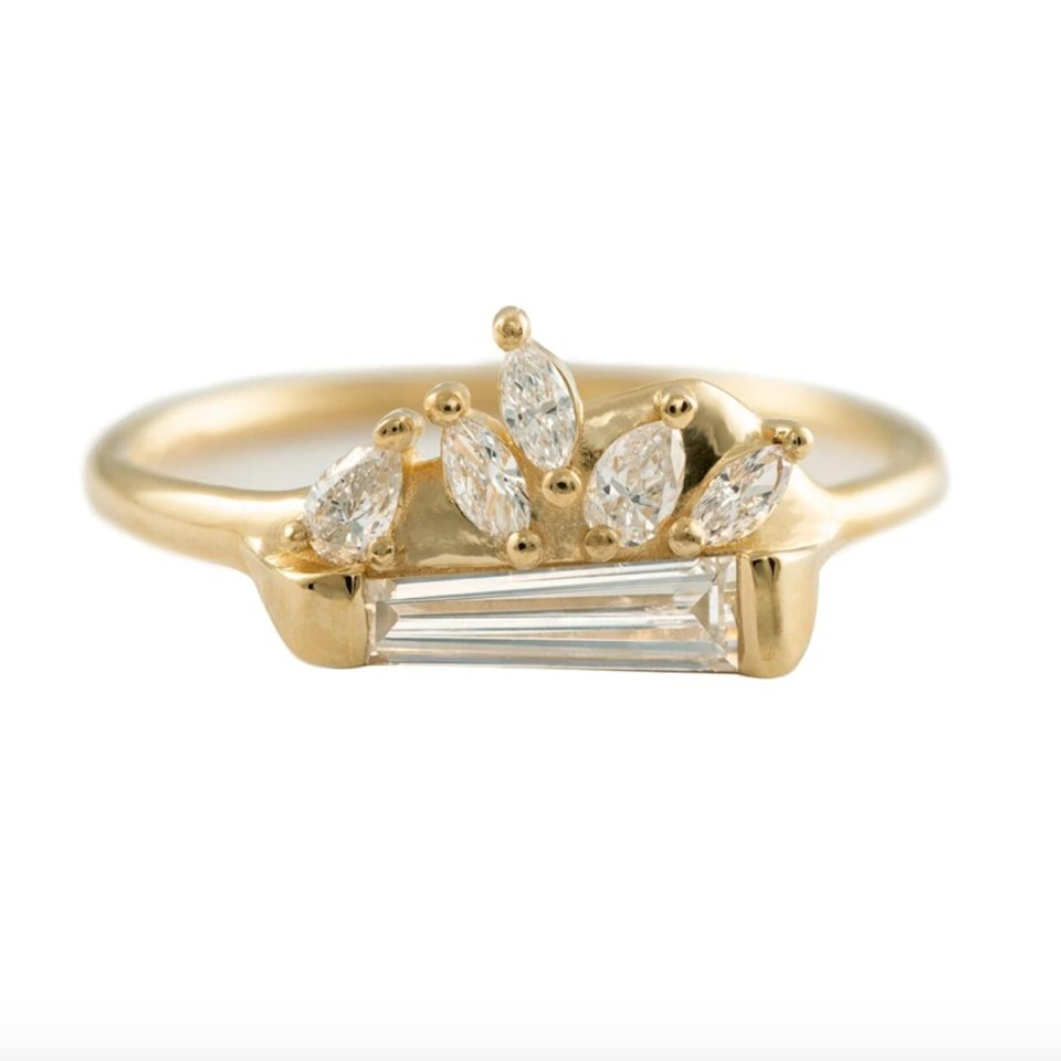 Artemer, Diamond Tapered Baguette with Pear & Marquise Cluster Ring, tomfoolery