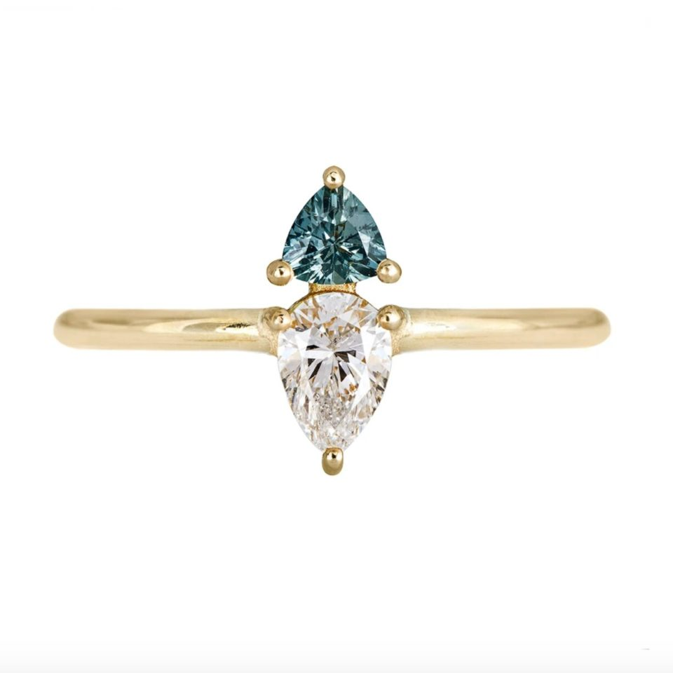 Artemer, Pear Diamond with Green Sapphire Ring, tomfoolery